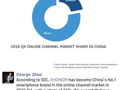 IDC 2018 Q4手机市场数据:荣耀占线上份额近1/4