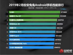 2月份安卓手机安兔兔跑分公布:小米9获第一