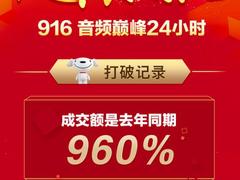 京东916音频巅峰大促战报出炉,成交额是去年同期960%!