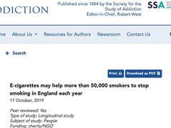 研究显示:电子烟每年帮助5万以上英国人戒烟